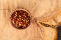 Pimenta vermelha ou pimenta de caiena esmagada Fotos de Stock