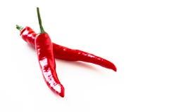 Pimenta vermelha quente em um fundo branco Foto de Stock Royalty Free
