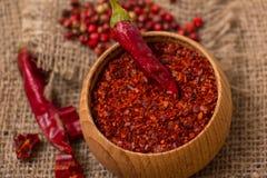 Pimenta vermelha quente esmagada Fotografia de Stock Royalty Free