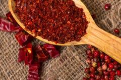 Pimenta vermelha quente esmagada Foto de Stock Royalty Free
