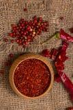 Pimenta vermelha quente esmagada Fotos de Stock Royalty Free