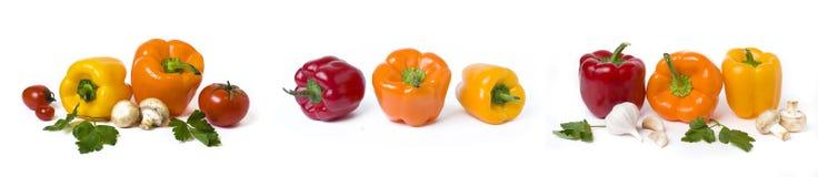 Pimentas amarelas e alaranjadas vermelhas com tomates em um fundo branco fotografia de stock