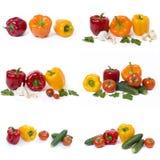 Pimentas amarelas e alaranjadas vermelhas com tomates em um fundo branco fotografia de stock royalty free