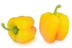 Pimentas amarelas isoladas no fundo branco Imagens de Stock Royalty Free