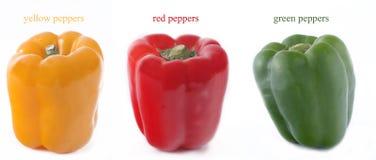 Pimentas amarelas, vermelhas, e verdes foto de stock