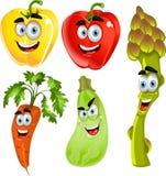 Pimentas bonitos engraçadas, espargos, cenouras, zucchini Imagens de Stock Royalty Free
