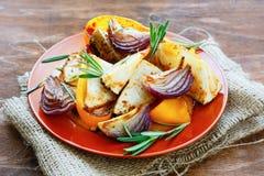Pimentas, cebolas e aipo Roasted Fotografia de Stock Royalty Free
