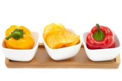 Pimentas com microplaquetas da paprika Imagem de Stock