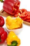 Pimentas com microplaquetas da paprika Fotografia de Stock