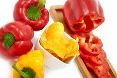 Pimentas com microplaquetas da paprika Fotos de Stock Royalty Free