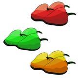 Pimentas da ilustração em três cores diferentes Foto de Stock Royalty Free