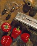 Pimentas de Bell e harmônica Foto de Stock Royalty Free