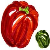 Pimentas de Bell verdes vermelhas Fotografia de Stock Royalty Free