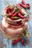 Pimentas de pimentão em um potenciômetro de cobre Fotos de Stock Royalty Free