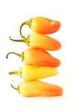 Pimentas de pimentão empilhadas Fotos de Stock