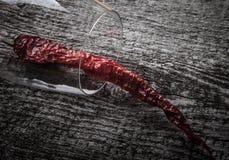 Pimentas de pimentão encarnados em um vidro em um fundo de madeira escuro Imagem de Stock Royalty Free