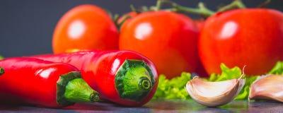Pimentas de pimentão vermelho, tomates, Sadat e alho em um mármore cinzento bandeira Imagens de Stock