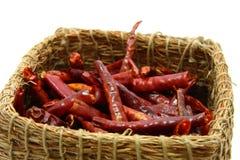 Pimentas de pimentões encarnados inteiras Imagens de Stock