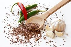Pimentas de pimenta de Caiena, sementes de linho, coentro e alho Fotos de Stock Royalty Free