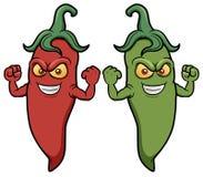 Pimentas de pimentão dos desenhos animados Fotos de Stock Royalty Free