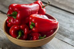 Pimentas de sino vermelhas Fotografia de Stock Royalty Free