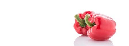 Pimentas de sino vermelhas maduras No branco Imagens de Stock Royalty Free