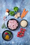 Pimentas do arroz da galinha fotografia de stock royalty free