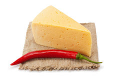 Pimentas do queijo e de pimentão no pano Foto de Stock Royalty Free
