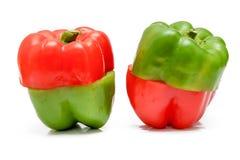 Pimentas doces coloridas brilhantes isoladas no branco Imagem de Stock Royalty Free