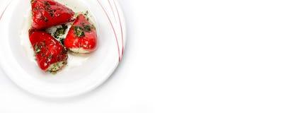 Pimentas doces enchidas com o queijo Fotos de Stock Royalty Free