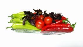 Pimentas e tomates imagem de stock