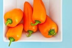 Pimentas em um prato Imagens de Stock