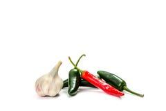 Pimentas, isoladas no branco Foto de Stock