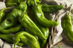 Pimentas picantes verdes cruas do portal foto de stock