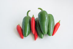 Pimentas quentes no fundo branco Imagem de Stock Royalty Free