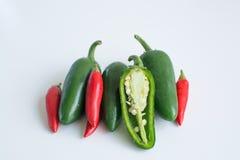 Pimentas quentes no fundo branco Foto de Stock Royalty Free