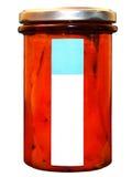 Pimentas roasted enlatadas no banke Pimentas de Krasny no frasco Frasco de vidro com pimenta fotografia de stock