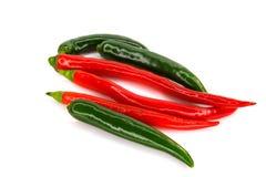 Pimentas verde e vermelho afiados Imagens de Stock Royalty Free