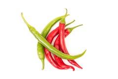 Pimentas verdes e vermelhas Imagens de Stock
