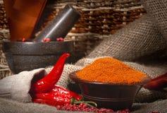 Pimentas vermelhas com pilão e almofariz Fotos de Stock