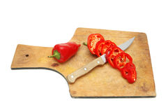 Pimentas vermelhas cortadas Foto de Stock Royalty Free