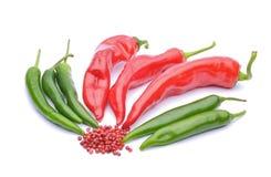 Pimentas vermelhas e pimentas de pimentão Fotografia de Stock