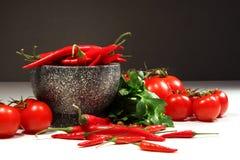 Pimentas vermelhas e tomates com a bacia do granito na obscuridade Fotos de Stock