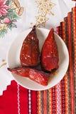 Pimentas vermelhas enchidas com feijões Imagem de Stock