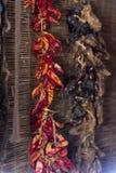 Pimentas vermelhas que penduram para secar foto de stock