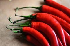 Pimentas vermelhas sobre o fundo marrom macio Imagem de Stock Royalty Free