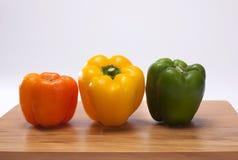 Pimentas, vermelho, amarelo, laranja, verde Imagem de Stock