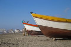 Pimentel beaches in chiclayo - Peru. Fishing area Royalty Free Stock Photo