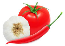 Pimentões quentes, cabeça do alho e tomate vermelho Fotos de Stock Royalty Free