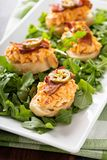 Pimento cheese bruschetta with bacon. And jalapeno pepper Royalty Free Stock Photo